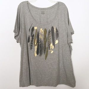 Lane Bryant Gray & Gold Beaded Feather Tee